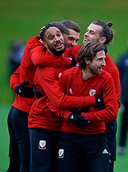 CARDIFF, WALES - Monday, November 19, 2018: Wales' L-R captain Ashley Williams, Aaron Ramsey, Gareth Bale and Joe Allen during a training session at the Vale Resort ahead of the International Friendly match between Albania and Wales. (Pic by David Rawcliffe/Propaganda)
