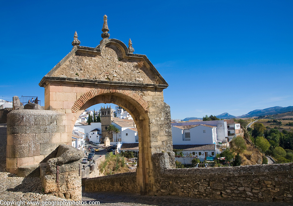 Puerta de Felipe V historic city gateway into the old city, Ronda, Spain