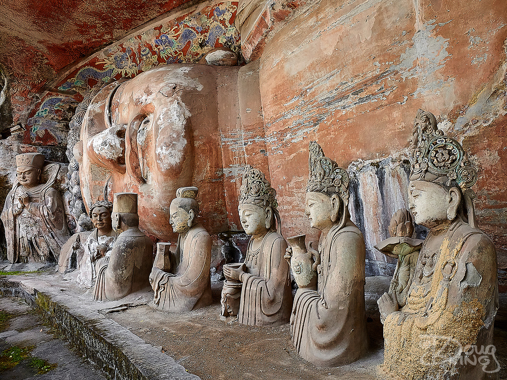A huge statue depicting the death of Buddha hewn from the cliffs at Dazu, Chongqing province, China.