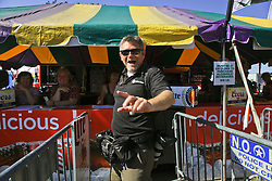 30 April 2015. New Orleans, Louisiana.<br /> The New Orleans Jazz and Heritage Festival. <br /> TP photographer David Grunfeld at the fest! <br /> Photo; Charlie Varley/varleypix.com