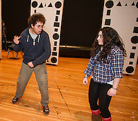 """Thomas Weiler and Joelle DelSignore during rehearsal for """"A Fever Dream of Creativity"""" a student run improv and sketch show with the Players Comedy Club at Winnisquam Regional High School Wednesday afternoon.  (Karen Bobotas/for the Laconia Daily Sun)"""