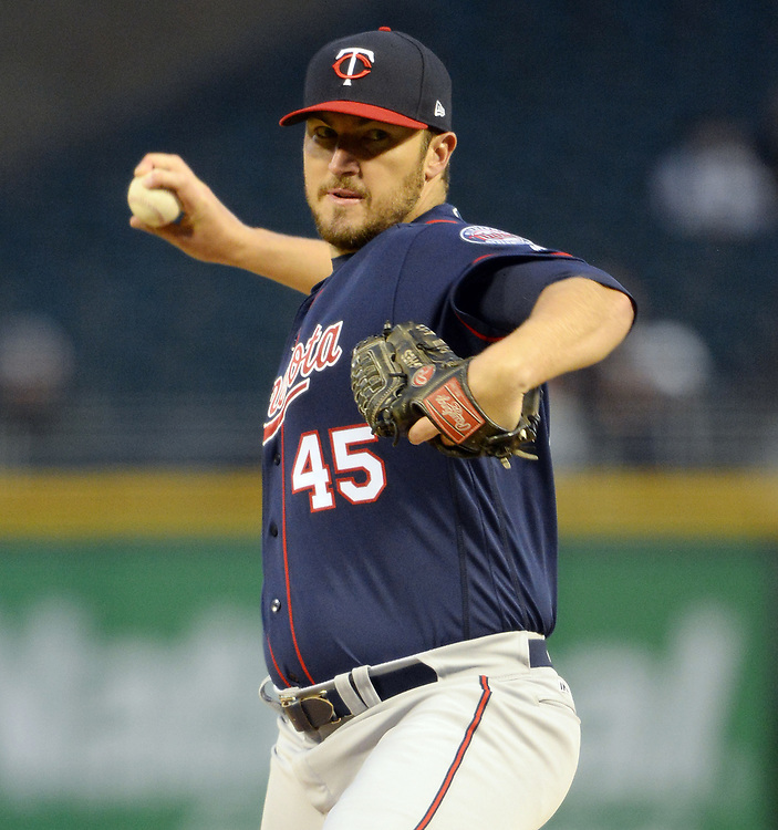 CHICAGO - APRIL 07:  Phil Hughes #45 of the Minnesota Twins pitches against the Chicago White Sox on April 7, 2017 at Guaranteed Rate Field in Chicago, Illinois.    (Photo by Ron Vesely)   Subject:  Phil Hughes