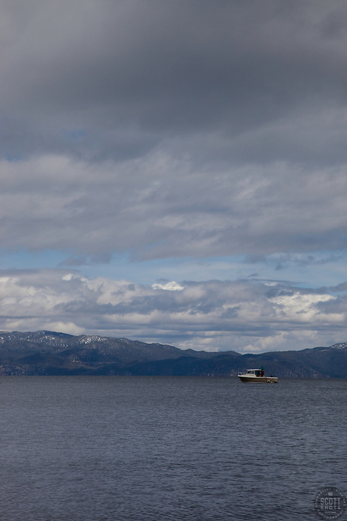 """""""Boat on Lake Tahoe 2"""" - This boat was photographed on the West shore of Lake Tahoe."""