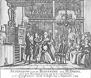 Picture of the baptism of the Holy Ministry, a Rinne ignoring the coast of Africa, at the Remonftrantsche church in Delft, 24th September, 1794.