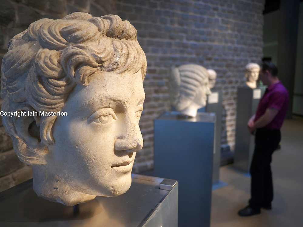 Busts on display at the Roman-Germanic Museum in Cologne Germany