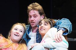Rita, Sue and Bob Too<br /> By Andrea Dunbar<br /> at The Royal Court Theatre, London, Great Britain <br /> Press photocall <br /> 11Pm h January 2018 <br /> <br /> Directed by Kate Wasserberg <br /> <br /> L to R:<br /> <br /> Gemma Dobson as Sue <br /> James Atherton as Bob <br /> Taj Atwal as Rita <br /> <br /> <br /> <br /> <br /> <br /> Photograph by Elliott Franks