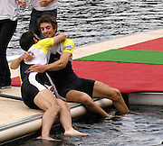 Lucerne, SWITZERLAND.  GBR LM2X,  left, Mark HUNTER celebrates with partner,  Zac PURCHASE on the awards dock, after they win, the Lightweight men's double Scull at the 2008 FISA World Cup Regatta, Round 2.  Lake Rotsee, on Sunday, 01/06/2008.  [Mandatory Credit:  Peter Spurrier/Intersport Images].Lucerne International Regatta. Rowing Course, Lake Rottsee, Lucerne, SWITZERLAND.