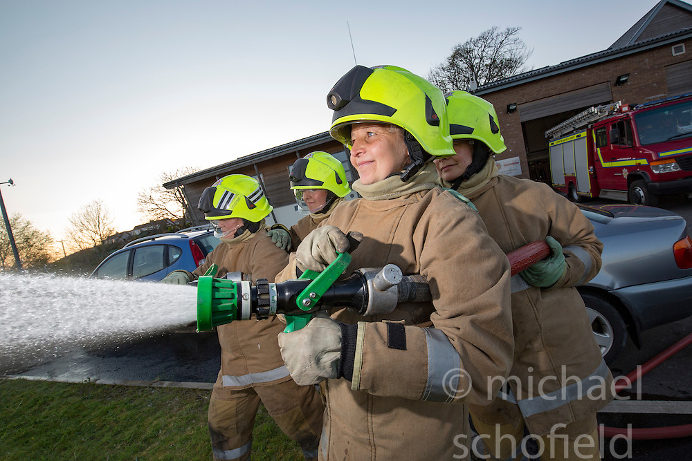Sarah Jones and Heather Brown on left, and Bonny Mealand and Annabel Lawrence in front. News feature on the nearly all-female firefighting crew based at the Fire Shed, Lochaline, on the Morvern Peninsula.