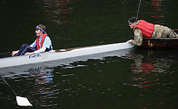 © Licensed to London News Pictures.13/06/15<br /> Durham, England<br /> <br /> An army cadet holds the stern of a boat at the start point during the 182nd Durham Regatta rowing event held on the River Wear. The origins of the regatta date back  to commemorations marking victory at the Battle of Waterloo in 1815. This is the second oldest event of this type in the country and attracts over 2000 competitors from across the country.<br /> <br /> Photo credit : Ian Forsyth/LNP