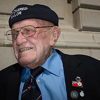 Liverpool, UK, 25th May, 2013. Ex Royal Navy veteran Jim Bellew.  A local to Liverpool who came to parade as part of the 70th anniversary celebrations of the Battle of the Atlantic.