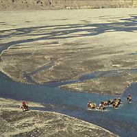 A trading caravan crosses the Thak Kola (Kali Gandaki) river north of Jomsom, long a trading route with Tibet.