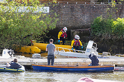 Licensed to London News Pictures. 10/05/2021. London, UK. RNLI experts race against time in a desperate rescue attempt to re-float a young whale which has been caught up in bushes at Teddington Lock, south west London this afternoon. The 4 metre baby mink whale was first seen stuck at Richmond Lock yesterday evening and was freed at 1am this morning. However the disoriented whale turned away from the direction of the open seas and headed west towards Teddington. Photo credit: Alex Lentati/LNP