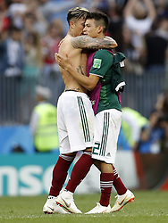 (l-r) Carlos Salcedo of Mexico, Hirving Lozano of Mexico during the 2018 FIFA World Cup Russia group F match between Germany and Mexico at the Luzhniki Stadium on June 17, 2018 in Moscow, Russia