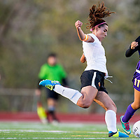 091213       Cable Hoover<br /> <br /> Gallup Bengal Alisha Campos (7) shoots the ball past Kirtland Central Bronco Tamia Maryboy (11) Thursday at Public School Stadium in Gallup.