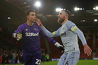 Football - 2018 / 2019 FA Cup - Third Round Replay: Southampton vs. Derby County<br /> <br /> Richard Keogh of Derby celebrates with Kelle Roos of Derby after his penalty seals the shoot out at St Mary's Stadium Southampton  <br /> <br /> COLORSPORT/SHAUN BOGGUST