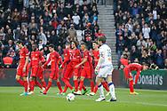 Marcos Aoas Correa dit Marquinhos (PSG) scored a goal from the decisive ball gaved from Giovani Lo Celso (PSG) and celebrated it with Maxwell Scherrer Cabelino Andrade (psg), Marcos Aoas Correa dit Marquinhos (PSG), Goncalo Guedes (PSG), Edinson Roberto Paulo Cavani Gomez (psg) (El Matador) (El Botija) (Florestan), Thomas Meunier (PSG), Blaise Mathuidi (psg), Julian Draxler (PSG), Adrien Rabiot (psg), Jean-Louis LECA (SC Bastia) during the French championship Ligue 1 football match between Paris Saint-Germain (PSG) and Bastia on May 6, 2017 at Parc des Princes Stadium in Paris, France - Photo Stephane Allaman / ProSportsImages / DPPI