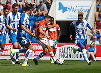 Blackpool's Jack Redshaw in action during todays match  <br /> <br /> Photographer  Kieran Galvin/CameraSport<br /> <br /> Football - The Football League Sky Bet League One - Colchester United v Blackpool - Saturday 08th August 2015 - Weston Homes Community Stadium - Colchester<br /> <br /> © CameraSport - 43 Linden Ave. Countesthorpe. Leicester. England. LE8 5PG - Tel: +44 (0) 116 277 4147 - admin@camerasport.com - www.camerasport.com