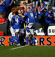Photo: Steve Bond.<br />Leicester City v Derby County. Coca Cola Championship. 06/04/2007. Matty Fryatt (buried) celebrates