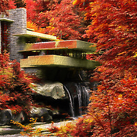 """""""Fallingwater Autumn Painterly""""<br /> <br /> Bright and vibrant autumn painting of Fallingwater!"""
