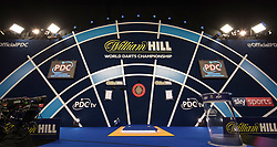 General view of the oche during day one of the William Hill World Darts Championship at Alexandra Palace, London. PRESS ASSOCIATION Photo. Picture date: Thursday December 14, 2017. See PA story DARTS World. Photo credit should read: Steven Paston/PA Wire. RESTRICTIONS: Use subject to restrictions. Editorial use only. No commercial use. Call +44 (0)1158 447447 for further information.