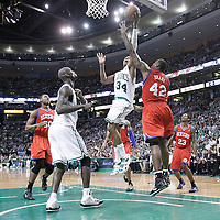 21 May 2012: Boston Celtics small forward Paul Pierce (34) goes to the basket against Philadelphia Sixers power forward Elton Brand (42) during the Boston Celtics 101-85 victory over the Philadelphia Sixer, in Game 5 of the Eastern Conference semifinals playoff series, at the TD Banknorth Garden, Boston, Massachusetts, USA.