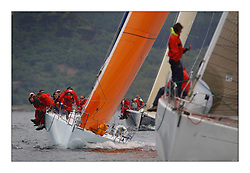 Yachting- The first days inshore racing  of the Bell Lawrie Scottish series 2003 at Tarbert Loch Fyne.  Light shifty winds dominated the racing...Hamish McKay and crew in their chartered Kerr 11.3 Blue Bell in Class one...Pics Marc Turner / PFM