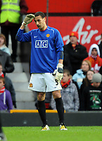 Rio Ferdinand (stand in goalkeeper for the Sent Off Edwin Van Der Sar) Can't believe it as Portsmouth go 1 up<br /> Manchester United 2007/08<br /> Manchester United V Portsmouth (0-1) 08/03/08<br /> The FA Cup 6th Round<br /> Photo Robin Parker Fotosports International