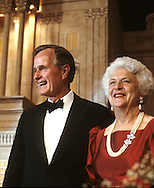 Vice President H.W. Bush and Barbara Bush listen to President Ronald Reagan and First Lady Nancy Reagan at a dinner in Washington where President Reagan endorses Vice President George HW Bush for president...Photograph by Dennis Brack bb24