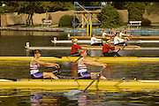 Bled, Slovenia, YUGOSLAVIA. GBR W2- Bow, Kim THOMAS and Catherine  MILLER. or Ali BONNER 1989 World Rowing Championships, Lake Bled. [Mandatory Credit. Peter Spurrier/Intersport Images]