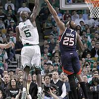 10 May 2012: Boston Celtics power forward Kevin Garnett (5) goes for the skyhook over Atlanta Hawks center Erick Dampier (25) during the Boston Celtics 83-80 victory over the Atlanta Hawks, in Game 6 of the Eastern Conference first-round playoff series, at the TD Banknorth Garden, Boston, Massachusetts, USA.