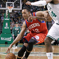 21 May 2012: Philadelphia Sixers shooting guard Evan Turner (12) drives past Boston Celtics small forward Paul Pierce (34) during the Boston Celtics 101-85 victory over the Philadelphia Sixer, in Game 5 of the Eastern Conference semifinals playoff series, at the TD Banknorth Garden, Boston, Massachusetts, USA.