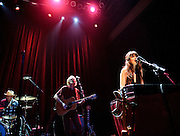 Washington, D.C. - July 7th, 2010:  Zooey Deschanel and M. Ward of She & Him perform in front of a sold out crowd at the 9:30 Club. (Photo by Kyle Gustafson/For The Washington Post)