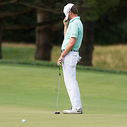 CRAIG HUDSON   Gazette-Mail <br /> Hudson Swafford hides his face after missing a putt on the 12th green at the Greenbrier Classic in White Sulphur Springs. W.V., on Saturday, July 08, 2017.