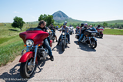 Cycle Source Magazine editors / publishers Heather and Chris Callen lead their Cycle Source Ride during the 78th annual Sturgis Motorcycle Rally. Sturgis, SD. USA. Wednesday August 8, 2018. Photography ©2018 Michael Lichter.