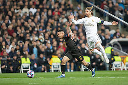 Real Madrid's Sergio Ramos and Manchester City's Gabriel Jesus during the UEFA Champions League round of 16 first leg match Real Madrid v Manchester City at Santiago Bernabeu stadium on February 26, 2020 in Madrid, Sdpain. Real was defeated 1-2. Photo by David Jar/AlterPhotos/ABACAPRESS.COM