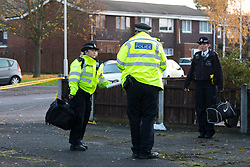 © Licensed to London News Pictures. 20/11/2019. London, UK. Police at the crime scene at Owen Waters House in Fullwell Avenue, Ilford where a 19 year old man died after suffering stab injuries last night. Police were called at 22:20 on 19th November following reports of a fight outside Owen Waters House where they attended to a 19 year old man suffering from stab injuries, who died at the scene.  Photo credit: Vickie Flores/LNP