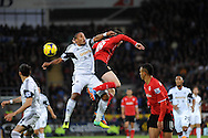 Swansea City's Ashley Williams challenges Cardiff City's Jordon Mutch to the high ball.<br /> Barclays Premier League match, Cardiff city v Swansea city at the Cardiff city stadium in Cardiff, South Wales on Sunday 3rd Nov 2013. pic by Phil Rees, Andrew Orchard sports photography,