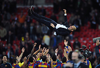 Football - UEFA Champions League Final - Barcelona vs. Manchester United<br /> Josep Guardiola manager of Barcelona is thrown in the air by his team at Wembley Stadium, London