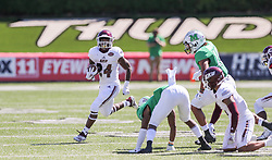 Sep 5, 2020; Huntington, West Virginia, USA; Eastern Kentucky Colonels running back Quentin Pringle (24) runs the ball during the third quarter against the Marshall Thundering Herd at Joan C. Edwards Stadium. Mandatory Credit: Ben Queen-USA TODAY Sports