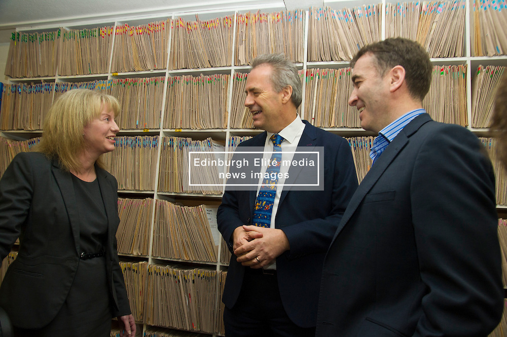 Pictured: Dr Alan McDevitt, Chairman of BMA's Scottish General Practitioners Committee discusses the agreement with Ms Shona Robison and Dr Gordon Black from the Grange Medical Practice<br /> <br /> Today Health Secretary Shona Robison, MSP, visited The Grange Medical Practice in Edinburgh to mark an agreement with doctors' union, the BMA,  on the future of primary care services. <br /> <br /> Ger Harley | EEm 3 November 2016