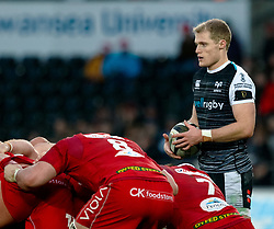 Aled Davies of Ospreys<br /> <br /> Photographer Simon King/Replay Images<br /> <br /> Guinness PRO14 Round 11 - Ospreys v Scarlets - Saturday 22nd December 2018 - Liberty Stadium - Swansea<br /> <br /> World Copyright © Replay Images . All rights reserved. info@replayimages.co.uk - http://replayimages.co.uk