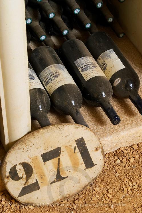 Bin label 271. Chateau St Martin de la Garrigue. Languedoc. Bottle cellar. France. Europe. Bottle.