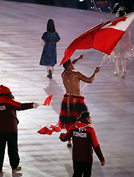 February 9, 2018 - PyeongChang, , South Korea - Tonga's sole athlete, PITA TAUFATOFUA, braved freezing temperatures to wear a grass skirt during the Opening Ceremony for the 2018 Pyeongchang Winter Olympic Games, held at PyeongChang Olympic Stadium. (Credit Image: © Scott Mc Kiernan via ZUMA Wire)