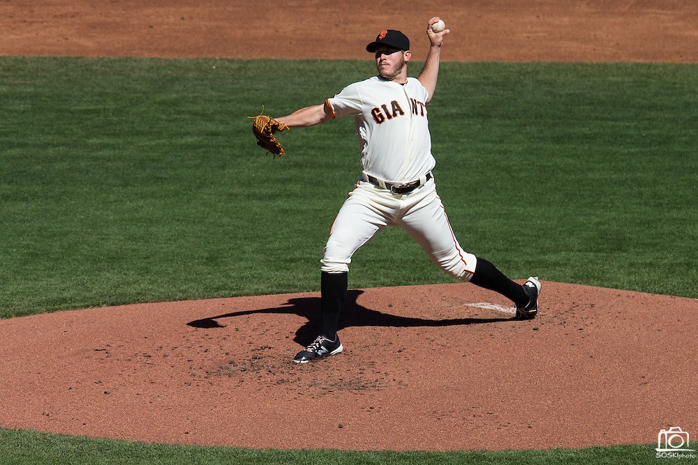 San Francisco Giants starting pitcher Ty Blach (50) pitches against the Los Angeles Dodgers at AT&T Park in San Francisco, Calif., on October 1, 2016. (Stan Olszewski/Special to S.F. Examiner)