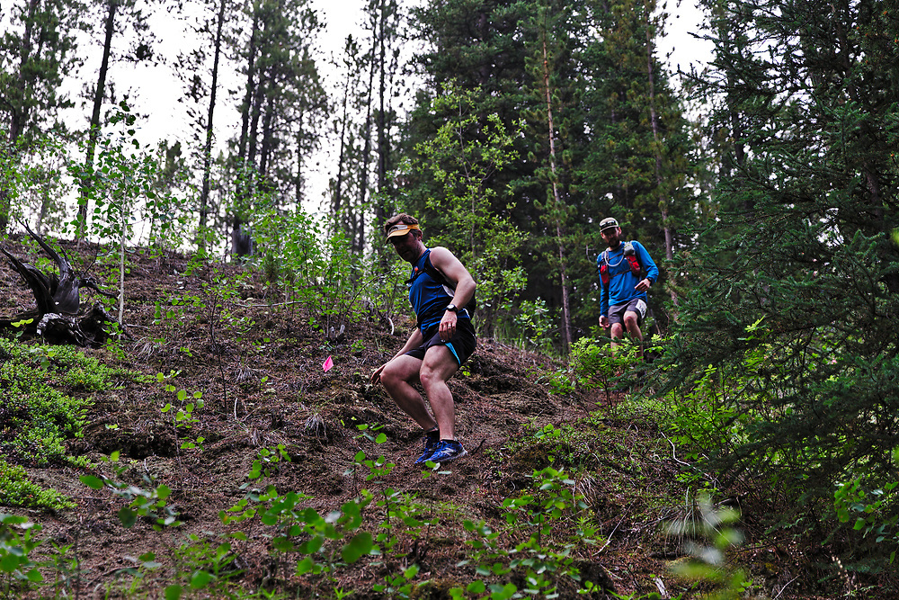 The third running of the Reckless Raven 50 Mile Ultra and Relay, June 30, 2019. Departing from the chalet at Mt. MacIntyre, solo and two-person relays travel a 51 mile course up, down and around Whitehorse, Yukon. Beyond the normal challenges of an ultra, Mother Nature threw in wildfire smoke and temperatures that peaked at 30 C.
