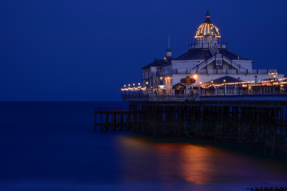 Editions of 8<br /> Evening light on Eastbourne Victorian Pier in the United Kingdom - England