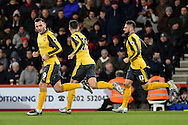 Arsenal Forward, Lucas Perez (9) scores to make it 3-2 during the Premier League match between Bournemouth and Arsenal at the Vitality Stadium, Bournemouth, England on 3 January 2017. Photo by Adam Rivers.