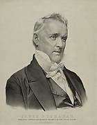 James Buchanan (1791-1868)15th President of the United States of America, 1857-1861.  Lithograph.