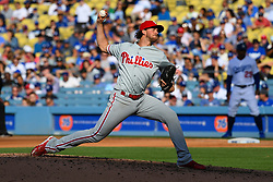 May 31, 2018 - Los Angeles, CA, U.S. - LOS ANGELES, CA - MAY 31: Philadelphia Phillies pitcher Aaron Nola (27) throws a pitch during a MLB game between the Philadelphia Phillies and the Los Angeles Dodgers on May 31, 2018 at Dodger Stadium in Los Angeles, CA. (Photo by Brian Rothmuller/Icon Sportswire) (Credit Image: © Brian Rothmuller/Icon SMI via ZUMA Press)