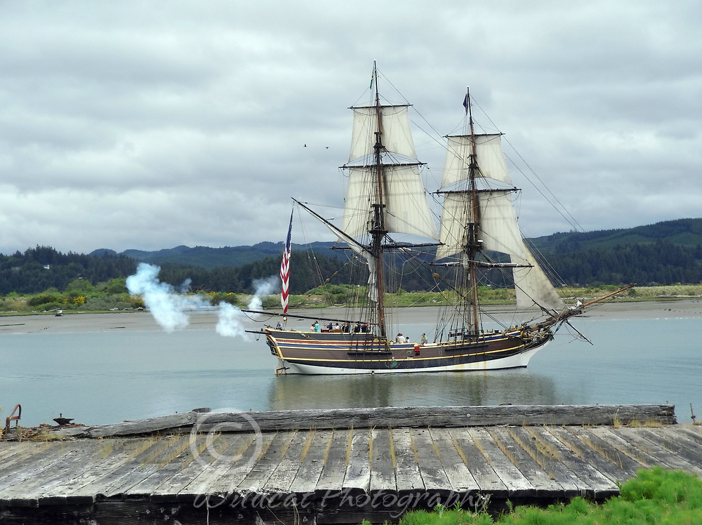 The Lady Washington under sail, firing cannon.